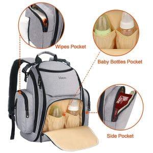 Mancro Maternity Baby Diaper Backpack pockets